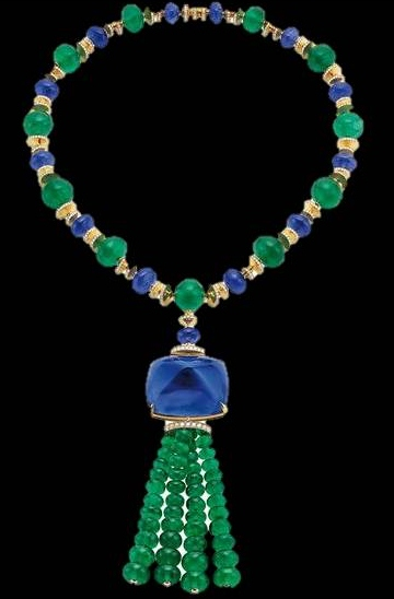 Elizabeth Taylor Emerald and Sapphire Necklace