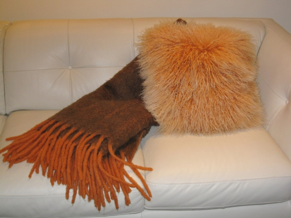Mohair blanket and Mongolian Fur Pillow