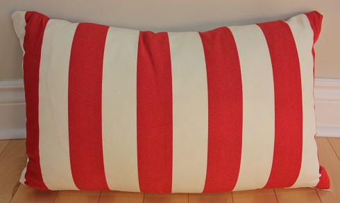 Red and White Striped Pillow